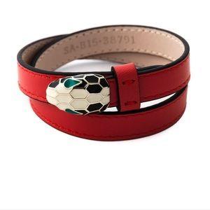 bvlgari red double wrap snake bracelet (bulgari)